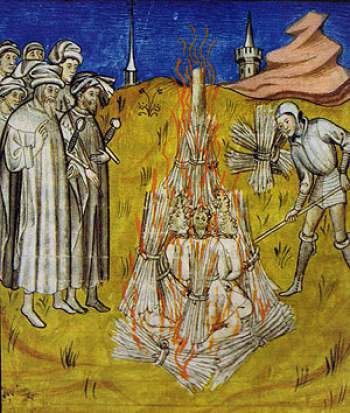 Medieval depiction of the bonfire at Montségur