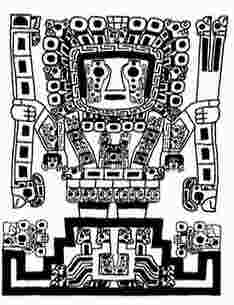 Tiahuanaco Drawing: Sky God as depicted on the Gateway of the Sun