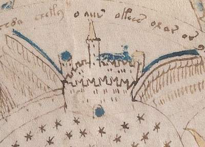 Voynich Manuscript drawing of a fortress with M-shaped merlons
