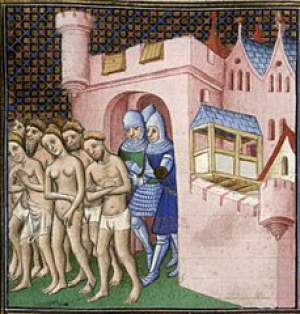 Cathars being expelled from Carcassonne in 1209