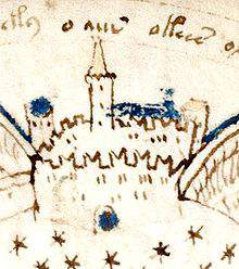 Voynich Manuscript drawing of a fortress suspected to be Montségur
