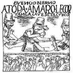 Inca Drawing of the Execution of Topa Amaro, last king of the Incas